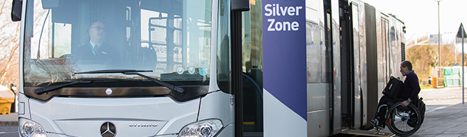 Bristol Airport Silver Zone bus with special assistance ramp