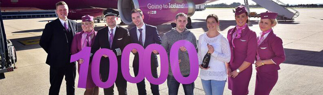 AIRPORT SURPRISE FOR 10,000TH PASSENGER TAKING OFF WITH WOW AIR!