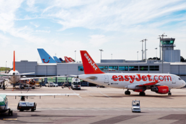 Aircraft on stands at Bristol Airport