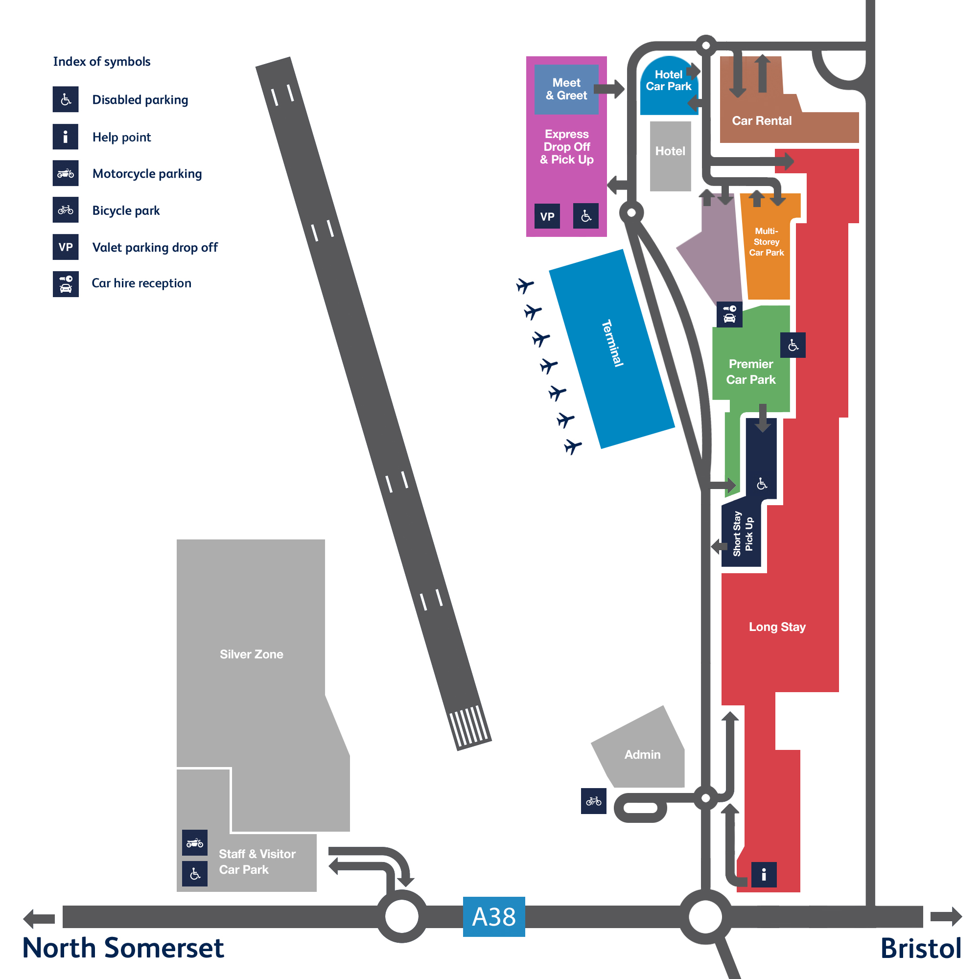 Map Of Car Parks At Bristol Airport Bristol Airport